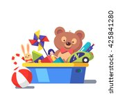 kids toy box full of toys.... | Shutterstock .eps vector #425841280