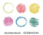 vector colored pencils circles. ... | Shutterstock .eps vector #425844244