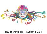 cute girl with goggles for... | Shutterstock .eps vector #425845234