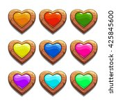 colorful cartoon wooden hearts...
