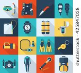 snorkeling and diving icons.... | Shutterstock .eps vector #425847028