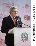 Small photo of Moscow, Russia - May, 23, 2016: ambassador of Italy in Russia Cesare Maria Ragaglini on the press conference devoted to tours of the La Scala theater in Moscow.