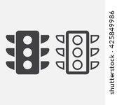 traffic light line icon ...