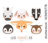 set of six illustration of... | Shutterstock .eps vector #425850778