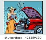sad woman driver near a broken...   Shutterstock . vector #425859130