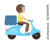 a young boy riding a delivery...   Shutterstock .eps vector #425859694