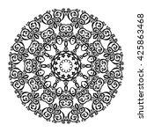 mandala. black round ornament....   Shutterstock .eps vector #425863468