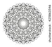 mandala. black round ornament.... | Shutterstock .eps vector #425863546