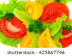 lettuce with tomato  pepper and ... | Shutterstock . vector #425867746