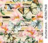 Watercolor Briar Flowers And...