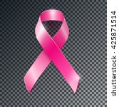 realistic vector pink ribbon ... | Shutterstock .eps vector #425871514