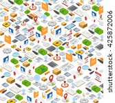 isometric icons background.... | Shutterstock .eps vector #425872006