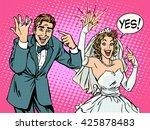happy bride and groom with... | Shutterstock . vector #425878483