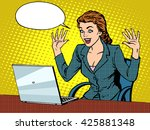 happy business woman with laptop | Shutterstock . vector #425881348