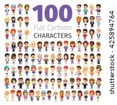 Big set of 100 casually dressed flat cartoon people. Isolated on white background. Clipping paths included. | Shutterstock vector #425894764