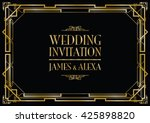 wedding invitation art deco  | Shutterstock .eps vector #425898820