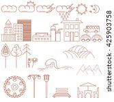 city design elements. thin line ... | Shutterstock .eps vector #425903758