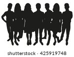 group of teenagers silhouette | Shutterstock .eps vector #425919748