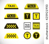 set of taxi icons. vector sign... | Shutterstock .eps vector #425921950
