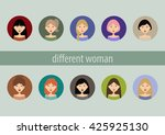 set of cute girls with... | Shutterstock .eps vector #425925130