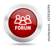 forum icon  red round metallic... | Shutterstock . vector #425926594