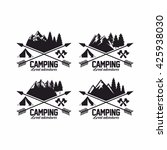 summer camp badges logos and... | Shutterstock .eps vector #425938030