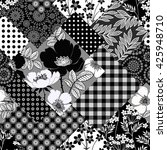seamless monochrome patchwork... | Shutterstock .eps vector #425948710