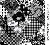 seamless monochrome patchwork... | Shutterstock .eps vector #425948710