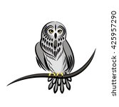 vector illustration with an owl ... | Shutterstock .eps vector #425957290