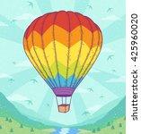 rainbow hot air balloon on... | Shutterstock .eps vector #425960020