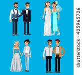 nontraditional family. happy... | Shutterstock .eps vector #425965726