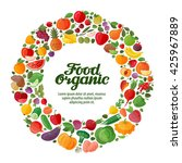 vector fruit and vegetable... | Shutterstock .eps vector #425967889