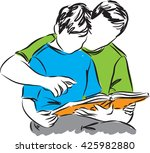 father and son reading a book... | Shutterstock .eps vector #425982880