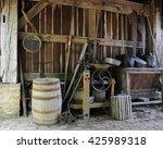 antique farm tools on the floor ... | Shutterstock . vector #425989318