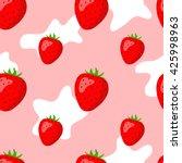 strawberries and cream seamless ... | Shutterstock .eps vector #425998963