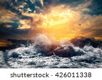 rough sea at sunset | Shutterstock . vector #426011338