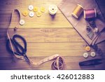sewing tools and sewing kit on... | Shutterstock . vector #426012883