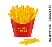 french fries in red paper... | Shutterstock .eps vector #426026680