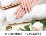 spa.beauty woman hands with a... | Shutterstock . vector #426032953