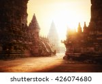 Amazing sunrise at Prambanan Temple. Great Hindu architecture in Yogyakarta. Java island, Indonesia