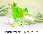 bathroom accessories on a green ... | Shutterstock . vector #426075274