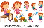 girl doing different activities ... | Shutterstock .eps vector #426078454