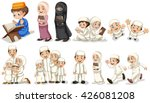 muslim people in different... | Shutterstock .eps vector #426081208