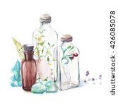 watercolor glass bottles ... | Shutterstock . vector #426085078