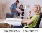 young architect sitting... | Shutterstock . vector #426090424