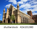 Stock photo st albans cathedral in st albans hertfordshire england although of a norman structure the 426101380