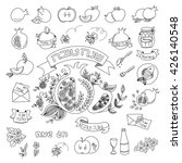 hand drawn elements for rosh... | Shutterstock .eps vector #426140548