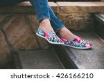 woman feet in colorful summer... | Shutterstock . vector #426166210