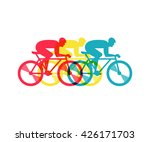 cyclist riding on bicycle ... | Shutterstock .eps vector #426171703