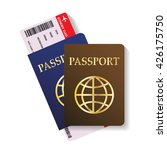 two passports with boarding... | Shutterstock .eps vector #426175750